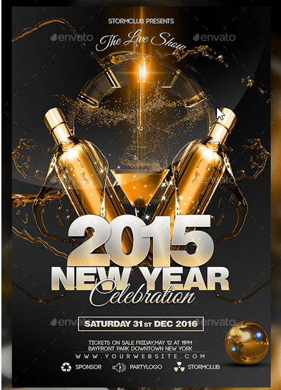 New Year Disco Flyer Psd  Eventos Corporativos