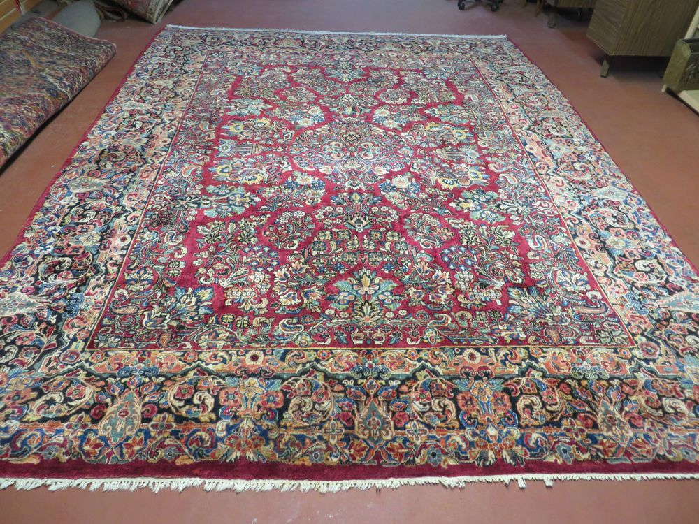 9 X 12 Antique 1920s Fine Hand Made Persian Sarouk Rug Painted Highly Detailed