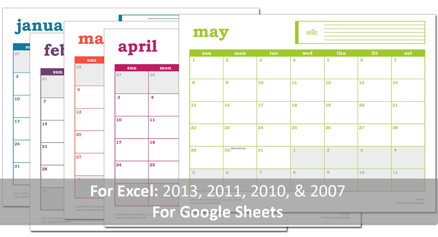 2016 Yearly Calendar - Event Calendar Maker Excel Template | Event ...