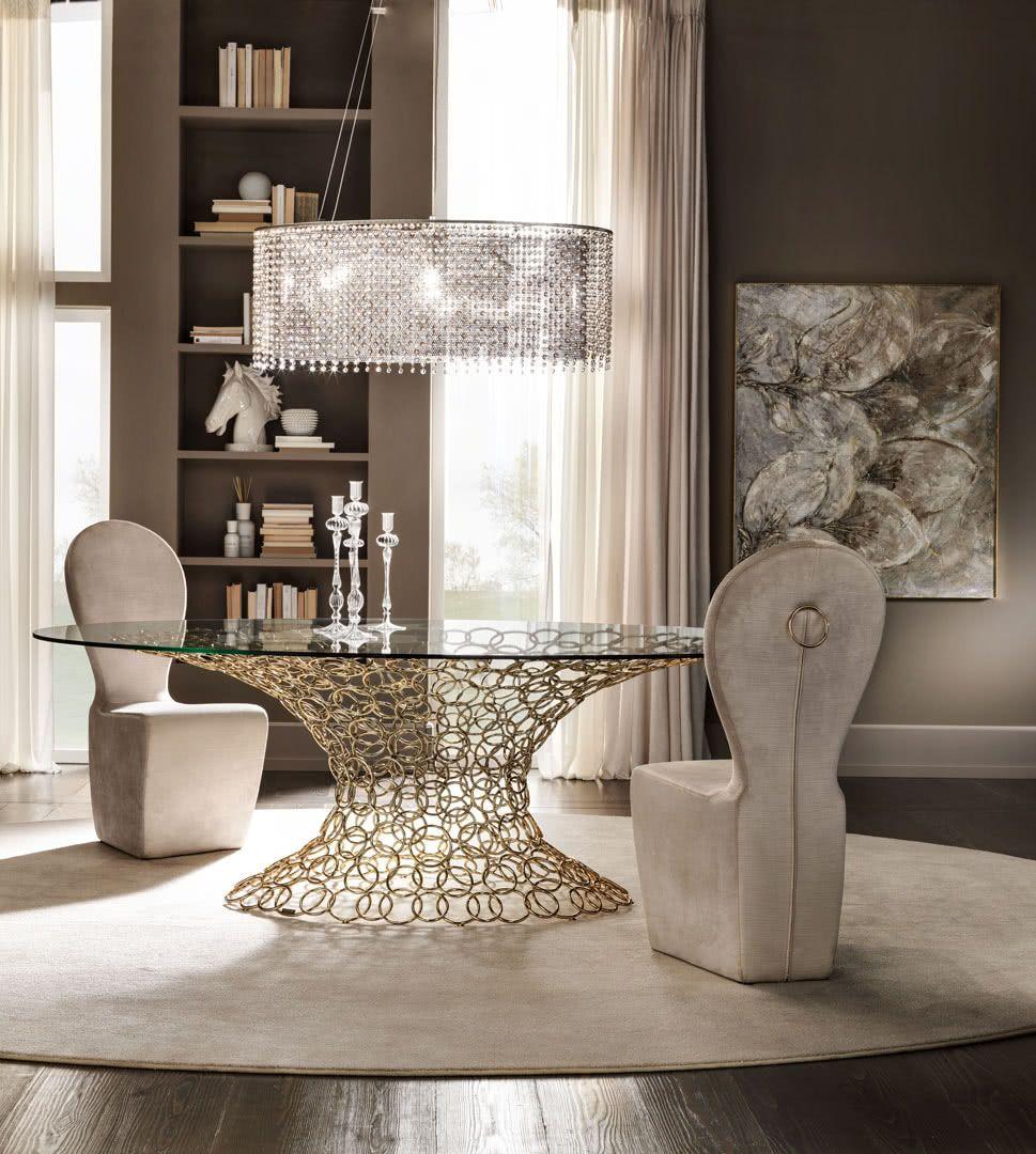 Tavolo in vetro Mondrian Art Form con piano rotondo o ovale e base ...