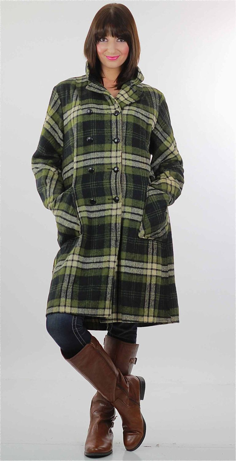 Flannel jacket with wool lining  Buffalo Plaid Coat s Mod Retro Double breasted coat Boho Hippie