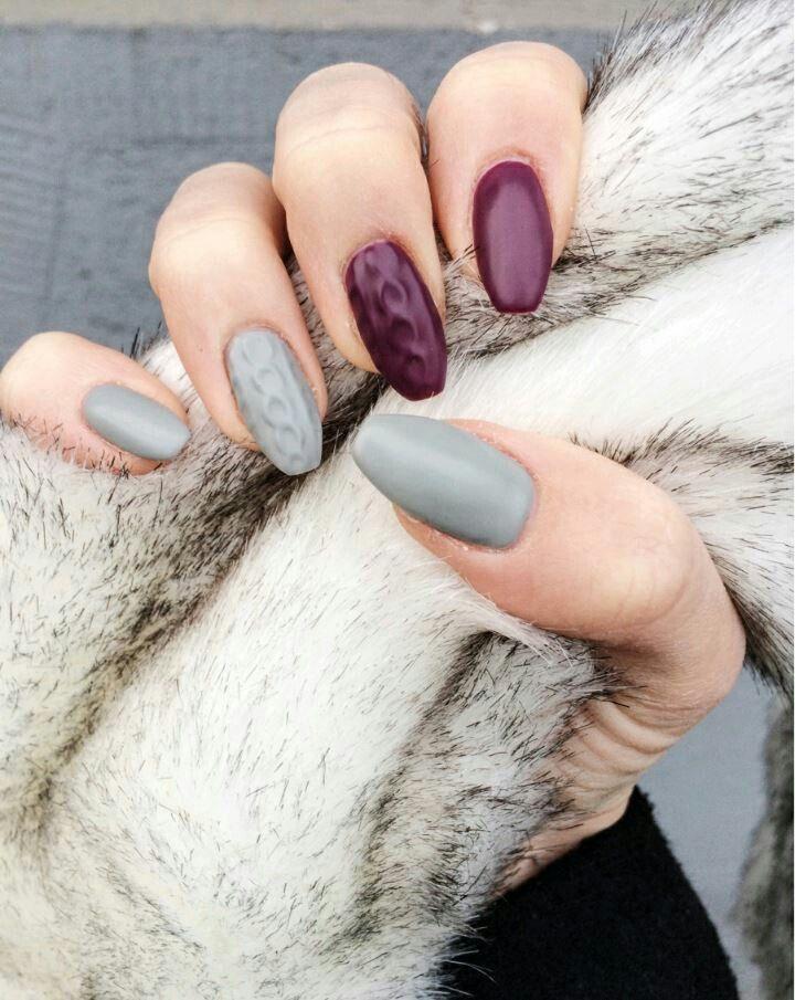 Paznokcie Sweterek Szary I Burgund Nails Pinterest Nails And