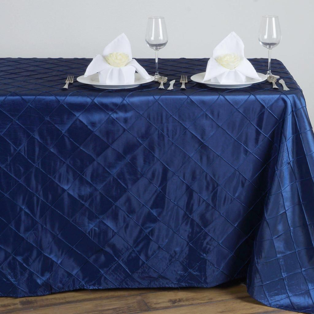90 X 132 Navy Blue Taffeta Pintuck Rectangular Tablecloth Tablecloth Sizes Pin Tucks Table