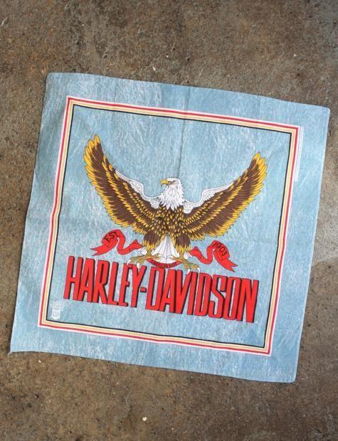 Vintage Harley Davidson Eagle Light Blue Bandana   Vintage harley ...