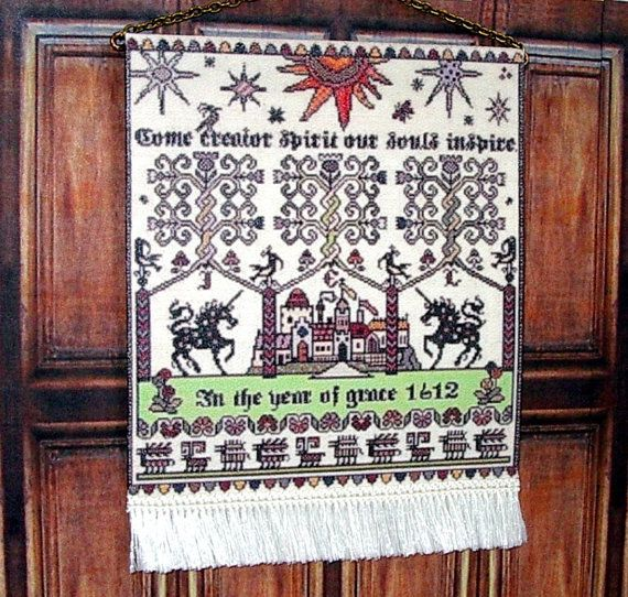 Whitsun 1612 Sampler Medieval Dollhouse Miniature by CalicoJewels