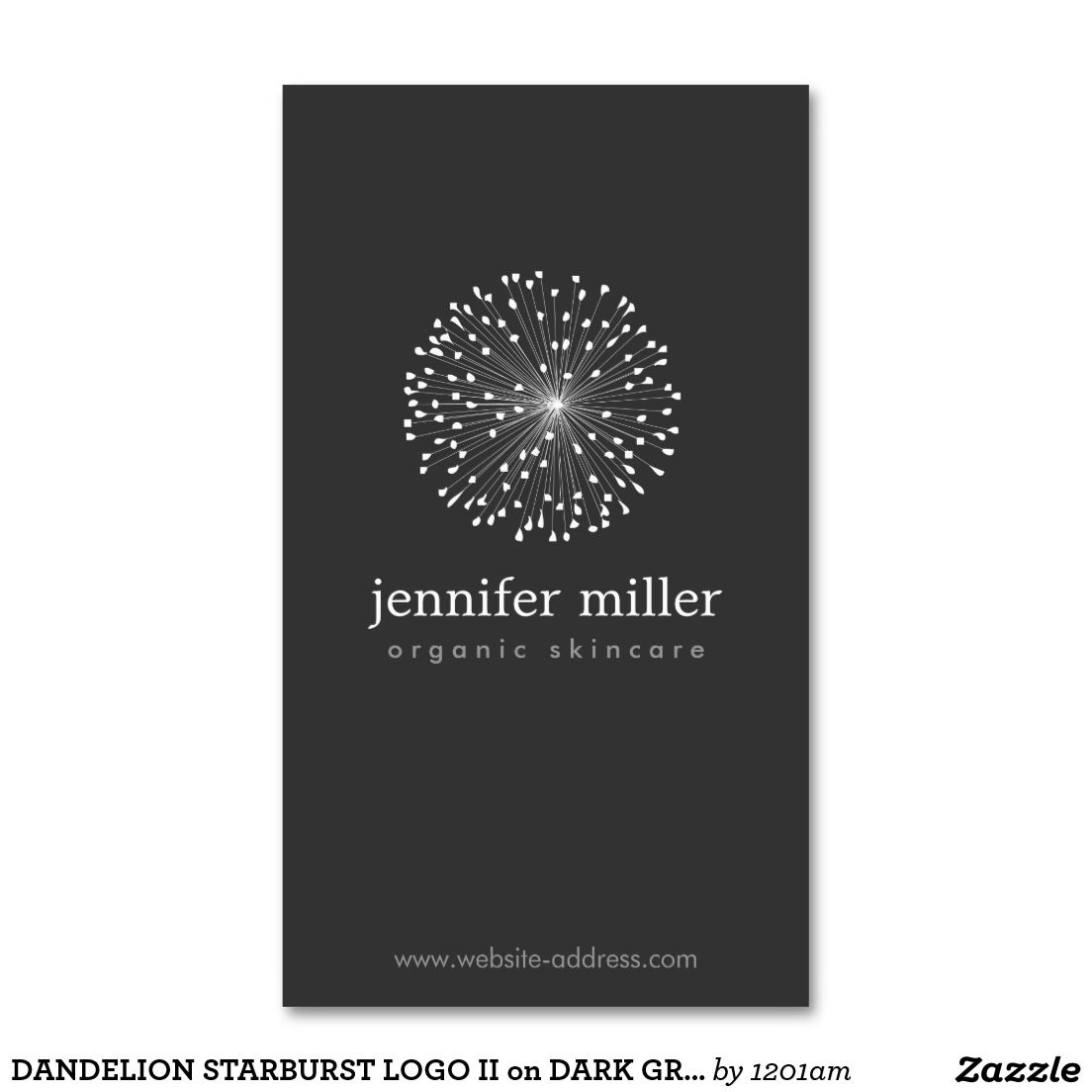 Dandelion Starburst Logo Ii On Dark Gray Business Card Zazzle Com Starburst Business Card Template Massage Logo