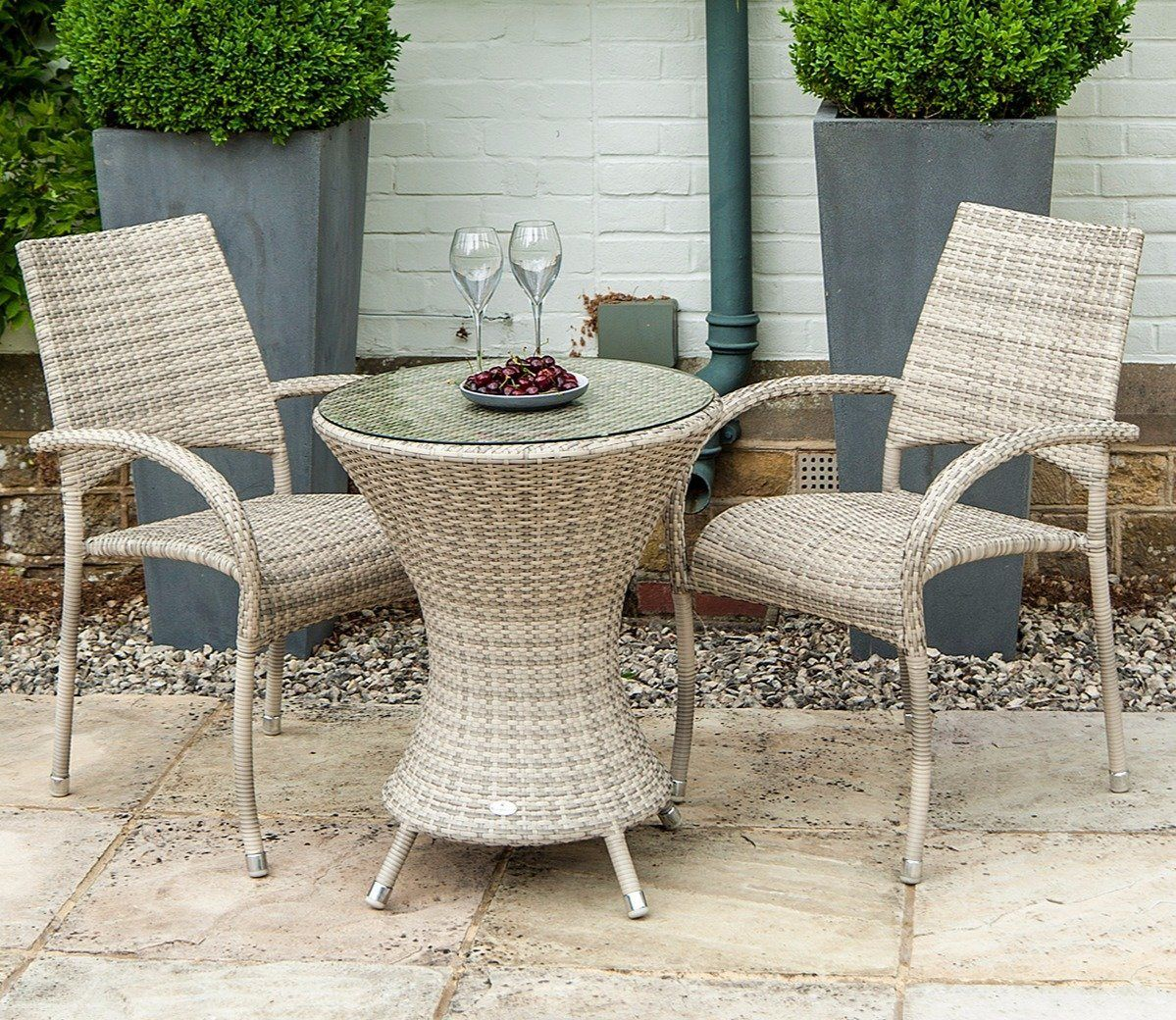 Alexander Rose Ocean Pearl 2 Seater Dining Set Patio Furniture Sets Outdoor Patio Furniture Sets Bistro Furniture