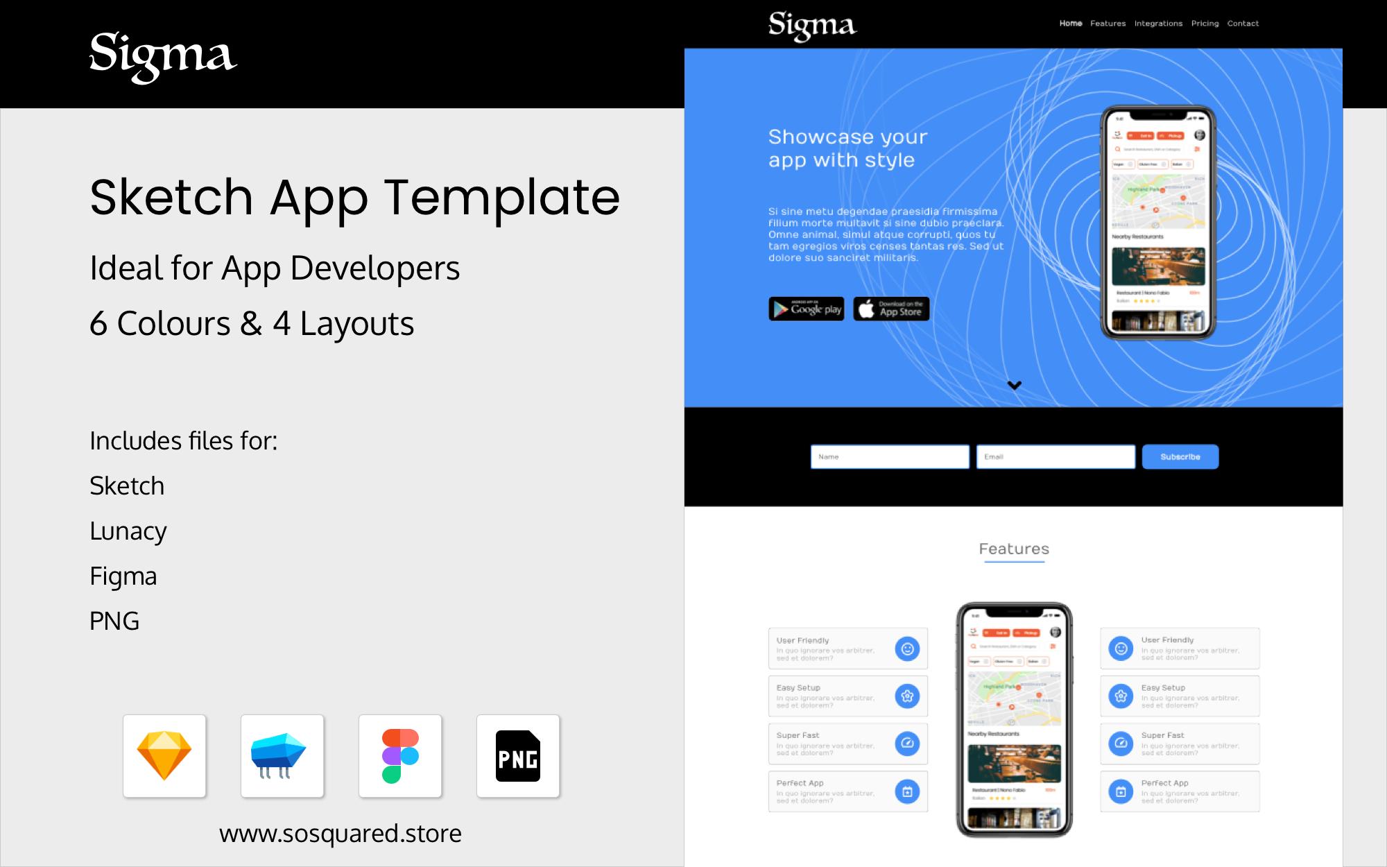 Sigma Sketch App Template Sketch UI Template Web Template Business Template Abstract Template