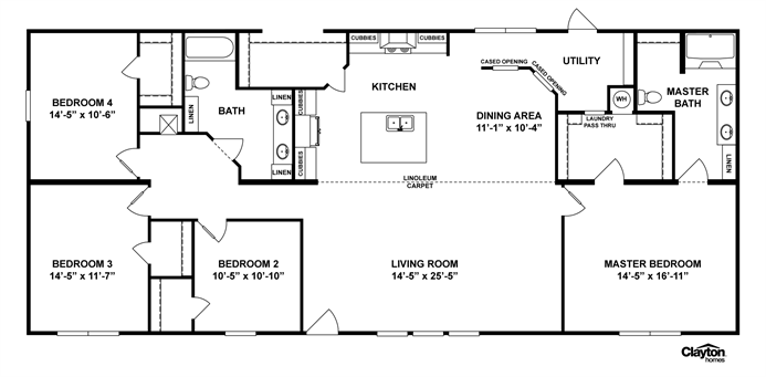 Interactive floorplan m165 terminator iv 32x70 - Clayton homes terminator 4 bedroom ...