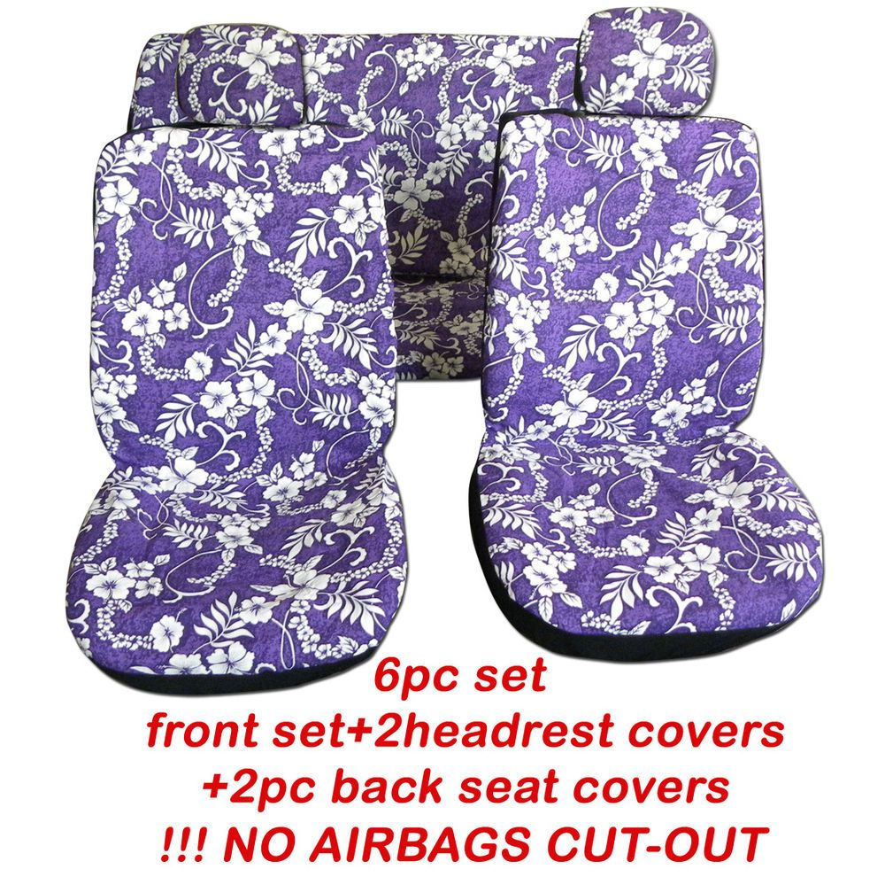 6pc set hawaiian flowers purple frontback car seat covers no 6pc set hawaiian flowers purple frontback car seat covers no airbags cut out izmirmasajfo