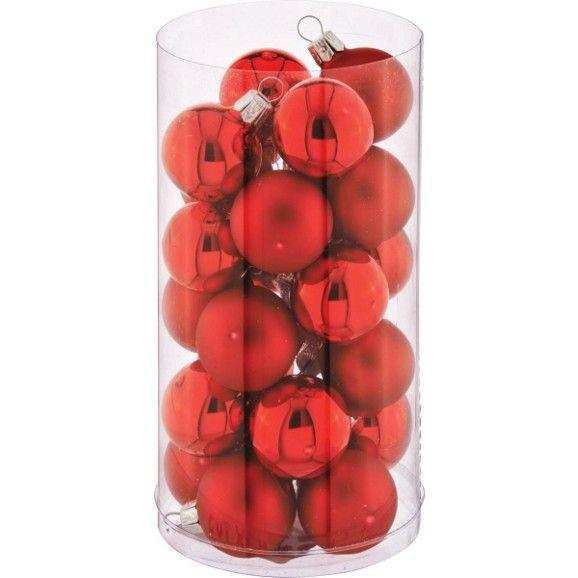 Christbaumkugel-set Chloe aus Glas - Pink/Rot, Glas (3cm) - MÖMAX modern living