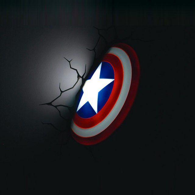 Captain America 3d Nightlight Superhero Room 3d Wall Art Wall Nightlight