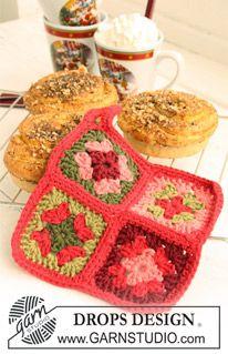 """Pegas DROPS em croché com quadrados em """"Paris"""". DROPS design: Modelo no W-372+W-373+W-376 ~ DROPS Design"""