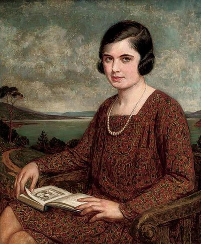Portrait of a lady, seated three-quarter-length, a book on her lap, a landscape beyond. John Bernard Munns, R.B.S.A., N.S.A. (British, 1869-1942). Oil on canvas.