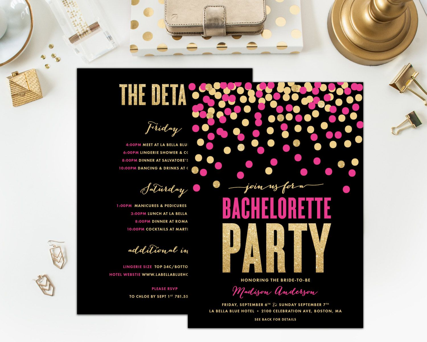 Shimmer & Shine Bachelorette Party Invitations with an Itinerary on ...