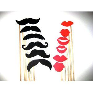 This is perfect for our photobooth area at the wedding.....Mustaches and Lips - Photo Booth Props -
