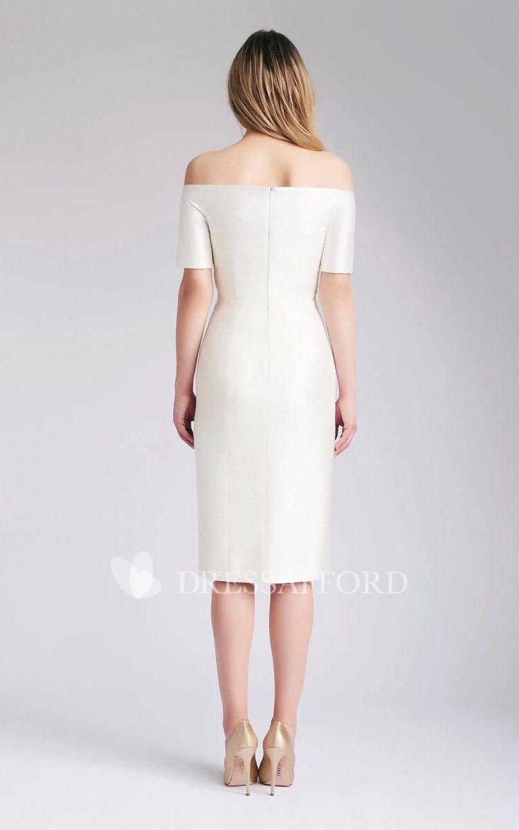 bb77834477e Wedding Slit Front Midi Off-Shoulder Dress
