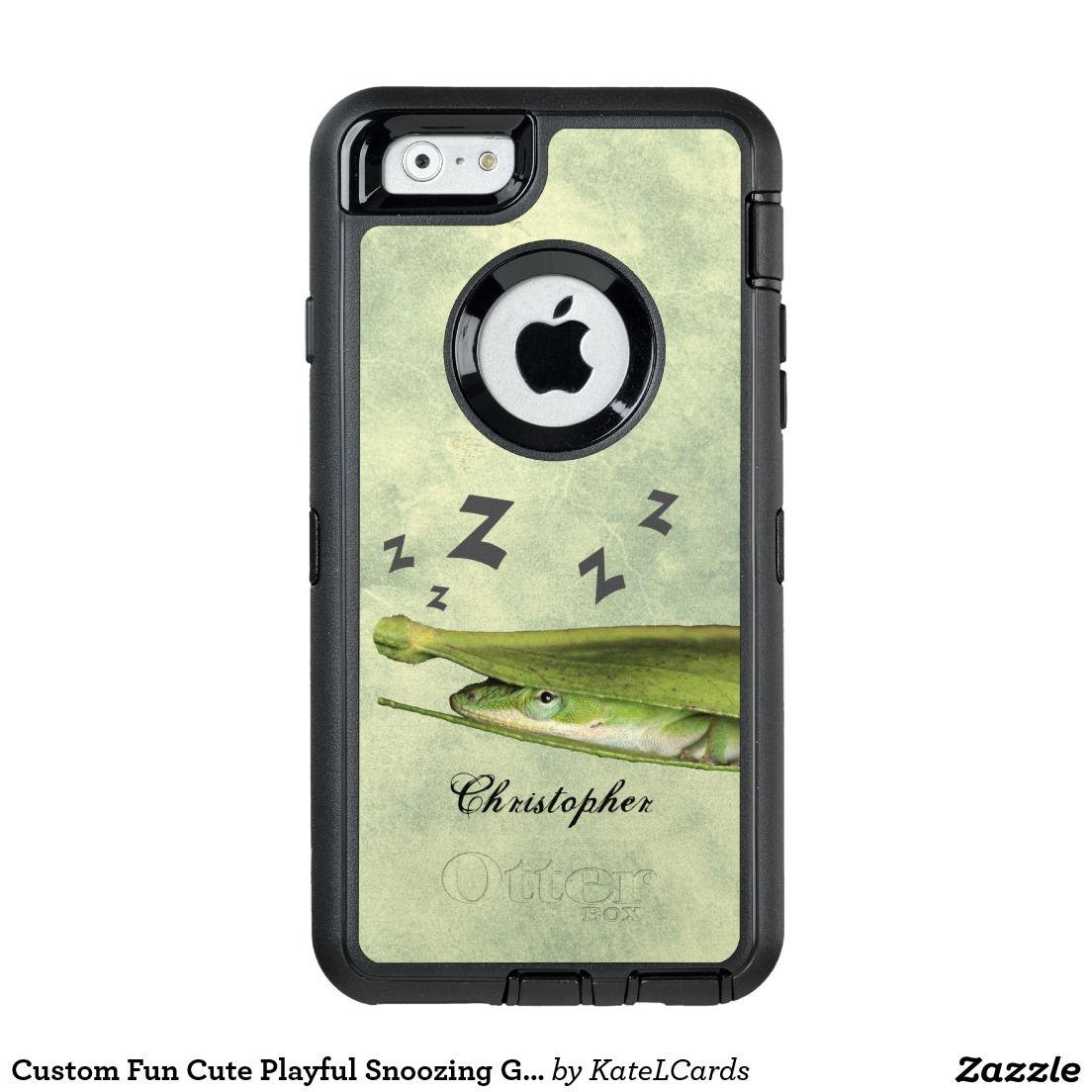 Custom Fun Cute Playful Snoozing Green Lizard OtterBox iPhone 6 6s Case c47c271d2