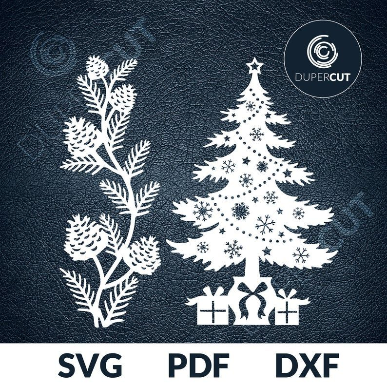 Hand drawn Snowflakes Holiday Card Papercut Silhouette Cameo Cricut Pine Cones Floral Leaves DXF Cut file Template Christmas Tree SVG