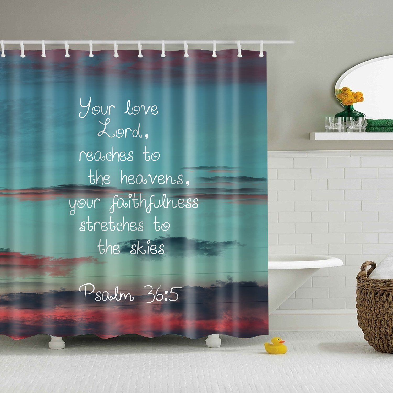 Psalm 36 5 Scripture Bible Verse Shower Curtain Bathroom Decor Bathroom Shower Curtains Fabric Shower Curtains Bathroom Inspiration