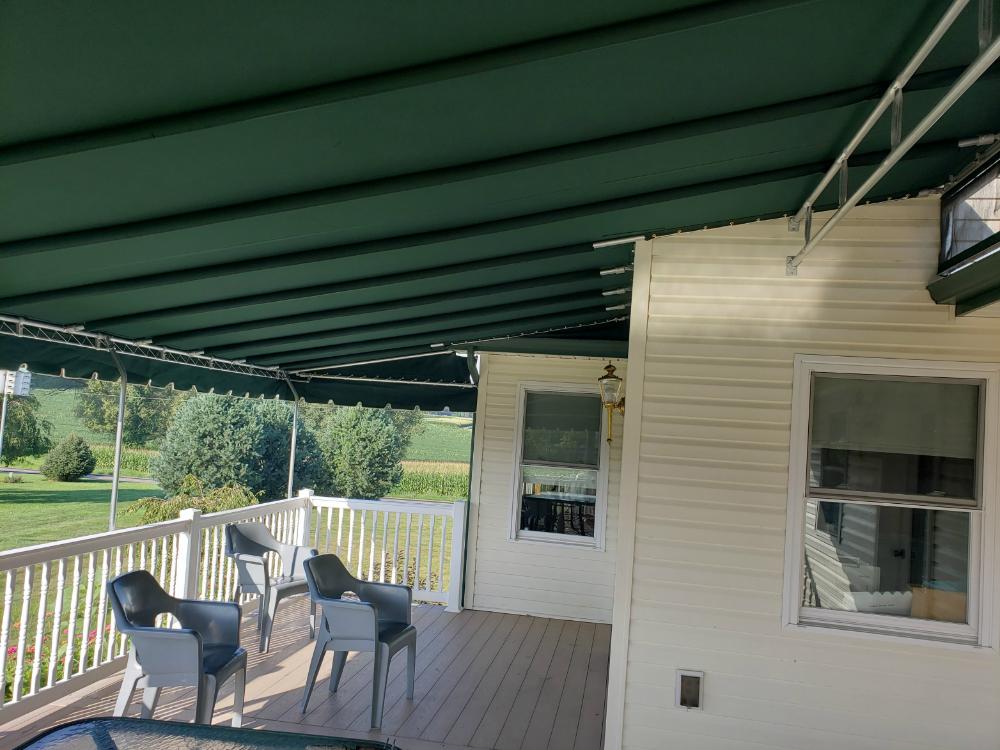 Stationary Canopy On Amish Home Kreider S Canvas Service Inc Amish House Canopy Deck Canopy
