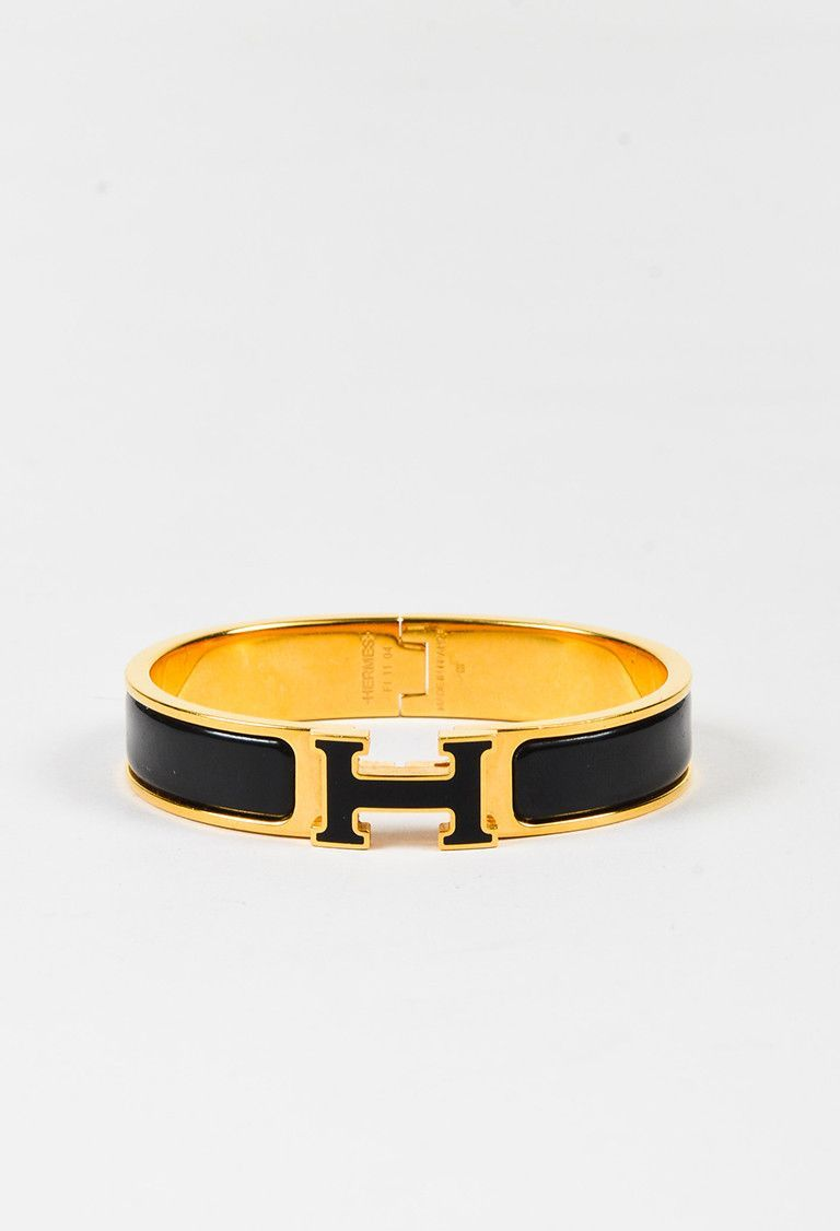 "Hermes Black Gold Plated Enamel Narrow Band ""Clic H"" Bangle Bracelet – Luxury Garage Sale"