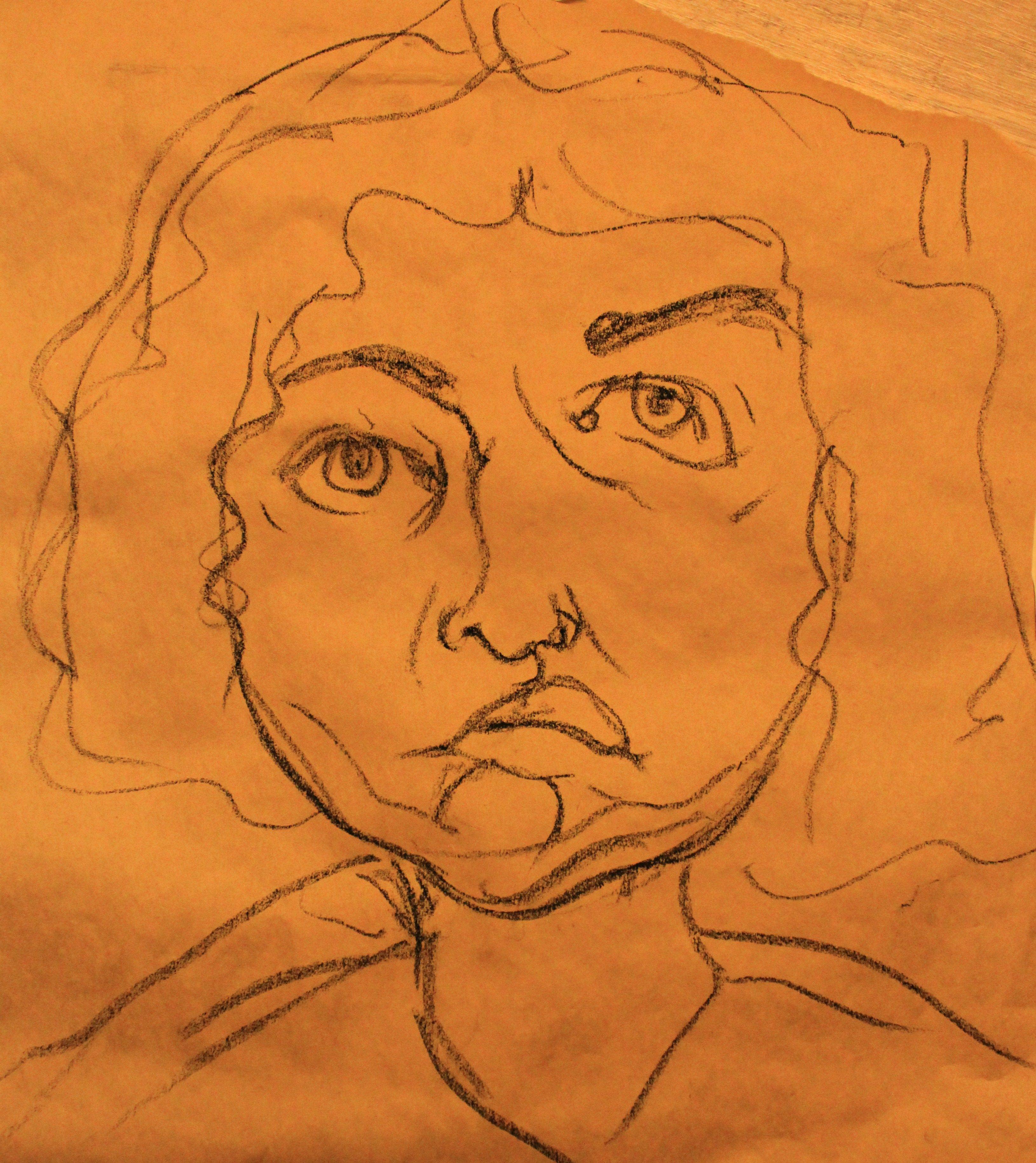 """half blind"" contour drawing"