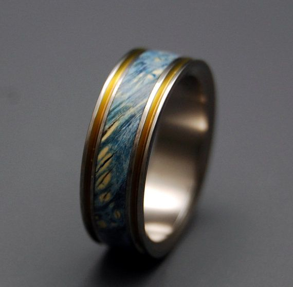 Titanium Wedding Ring Wood Ring Wedding Band Wooden Ring Something Blue Men 39 S Ring W Titanium Wedding Rings Wood Wedding Ring Wooden Rings Engagement
