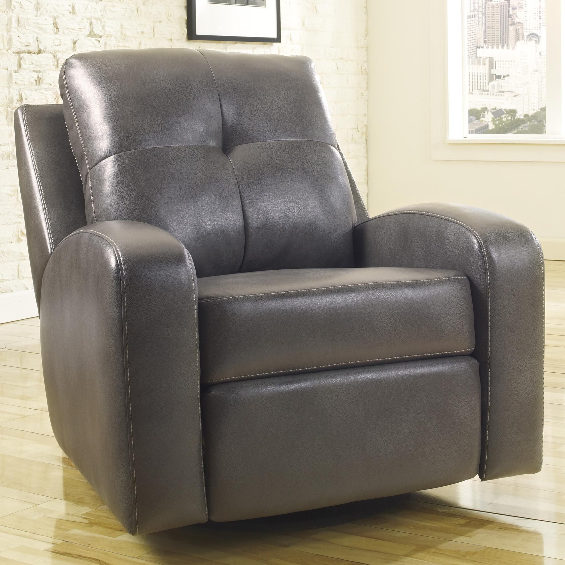 Mannix DuraBlend Gray Swivel Glider Recliner by Signature Design