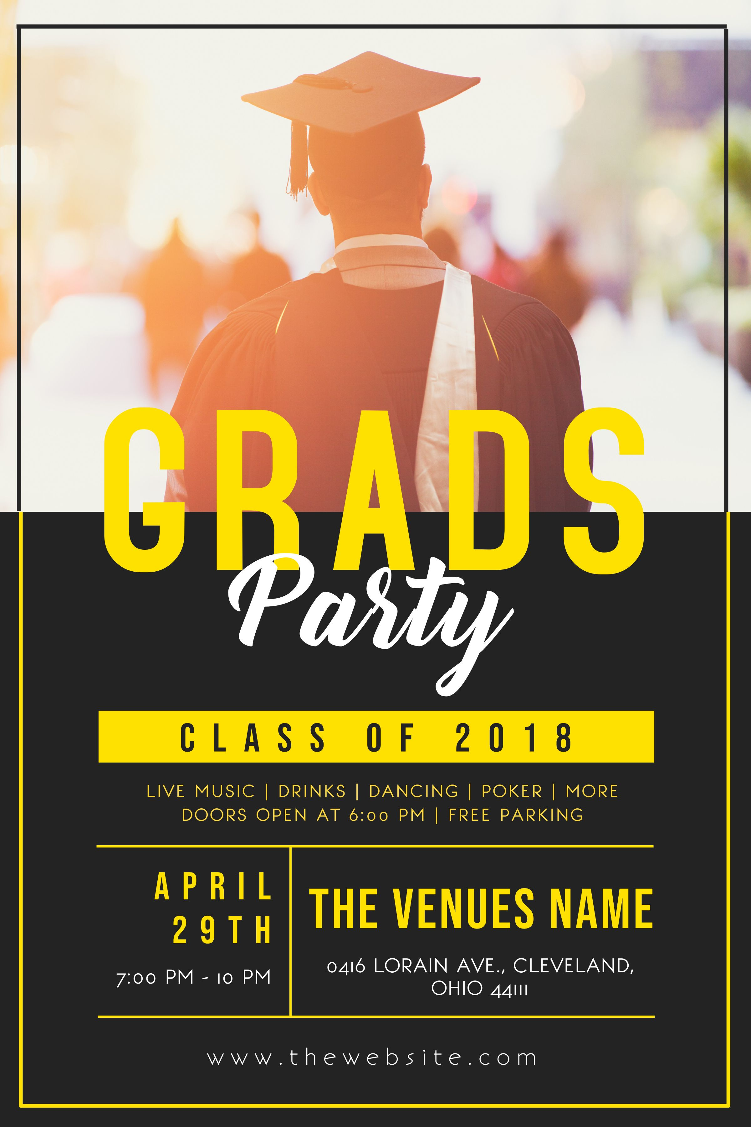 Grad party invitation flyer poster template.  Graduation party