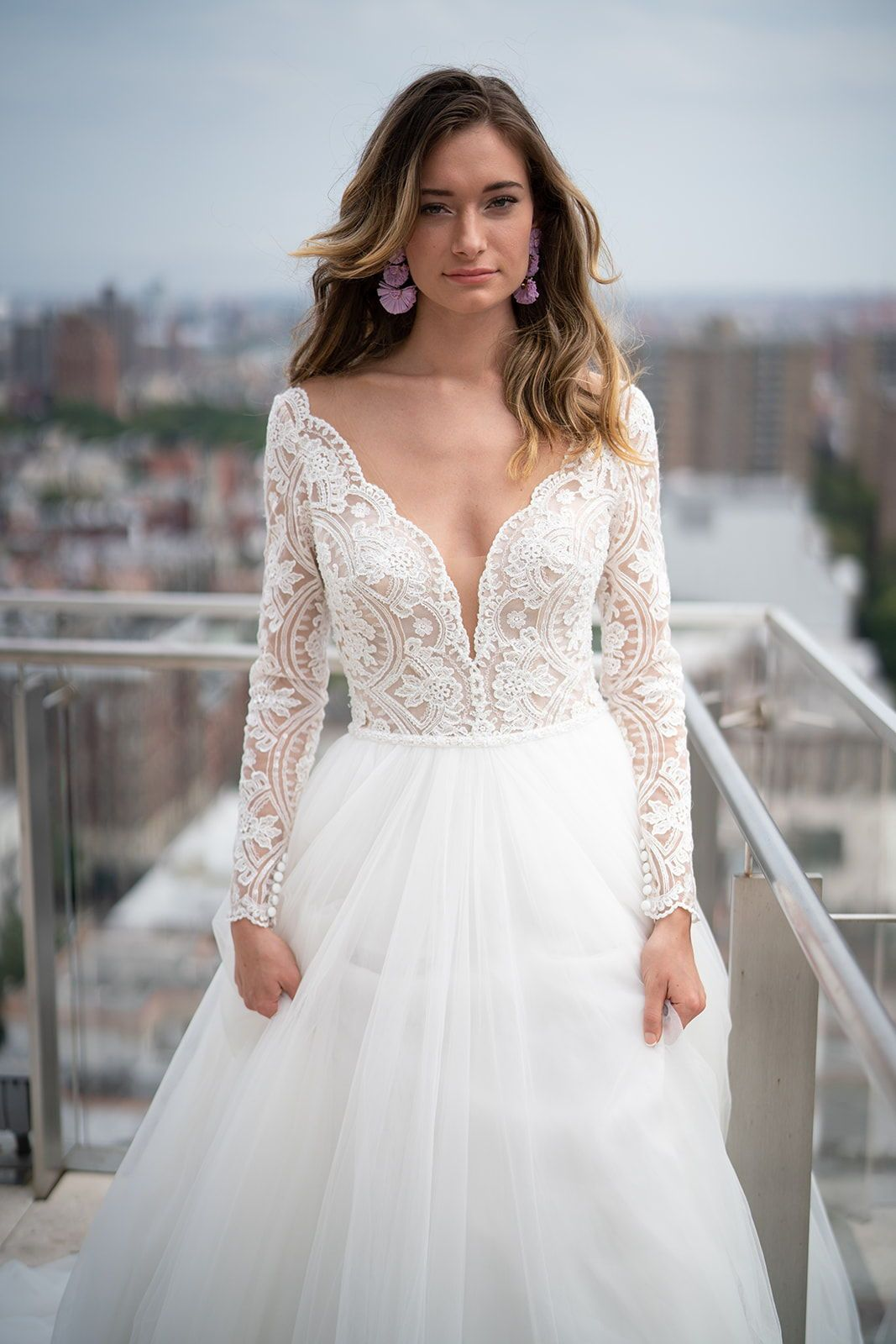 b565fbf9a4 Embellished long sleeve lace wedding dress with ballgown skirt. Mallory  Dawn by Maggie Sottero.