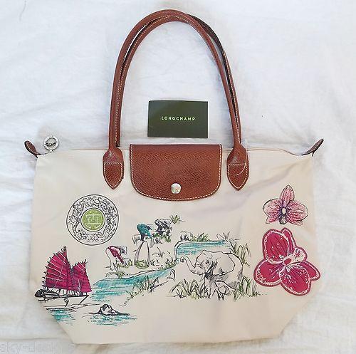 Longchamp Beige Autour De Ha Long Medium Shoulder Bag