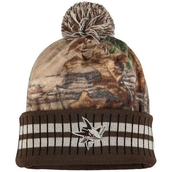 c72a68c40ba Men s San Jose Sharks Old Time Hockey Camo Brown Realtree Xtra Cuffed Knit  Hat With