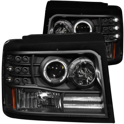 Ford F250 1992 1996 Black Projector Headlights With Halo And Led Ford Trucks Ford F150 Headlights