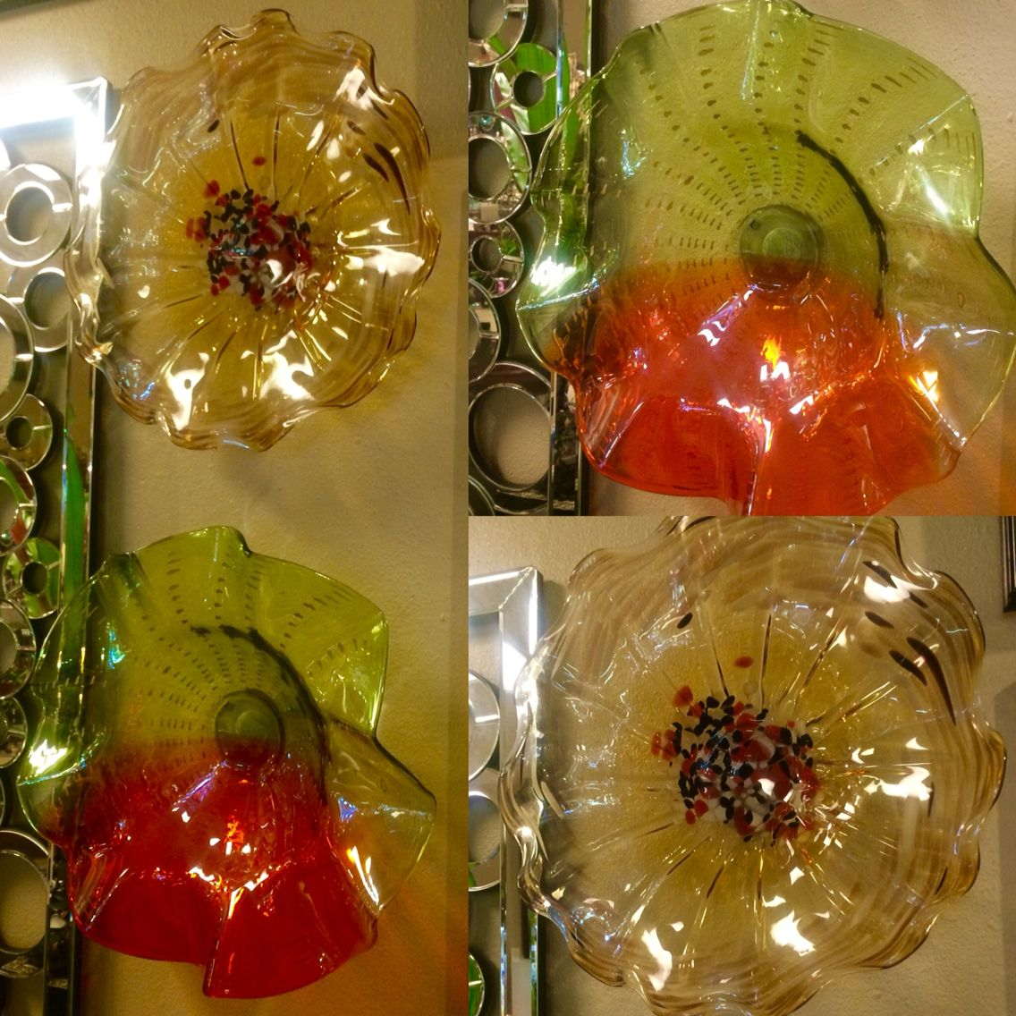 Beautiful contemporary hand blown glass wall art or decorative bowls ...