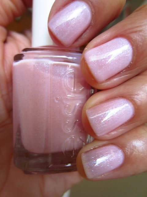 Essie Pink A Boo Is Pale Sheer Baby Loaded With Iridescent Silver Micro Glitter That Changes From Blue To Purple Depending On The Light