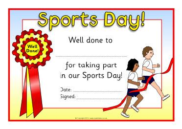 Sports day certificates education pinterest for Sports day poster template