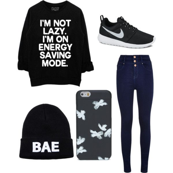 Lazy day by maddieje on Polyvore featuring polyvore, fashion, style and NIKE