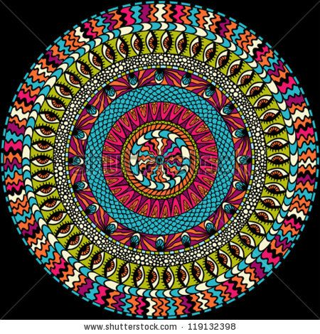 Colorful ethnicity round ornament, mosaic vector background. - stock vector