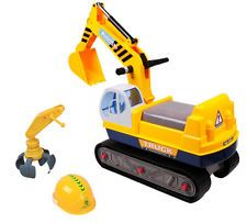 deAO Ride On Excavator Digger 2 in1 for Toddlers Pedal Free Vehicle with Two Different Claws