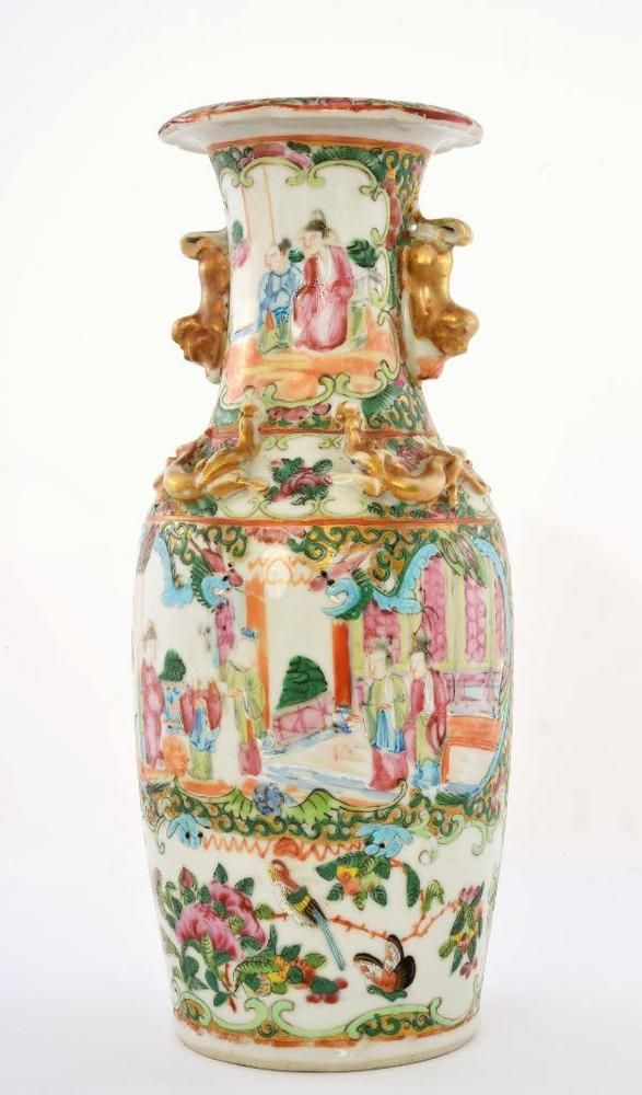CHINESE OLD MARKED FAMILLE ROSE PAIR LIONS PATTERN PORCELAIN LID JAR
