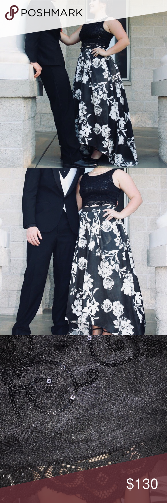 Black And White Floral 2 Piece Prom Dress Piece Prom Dress 2 Piece Prom Dress Prom Dresses Two Piece [ 1740 x 580 Pixel ]