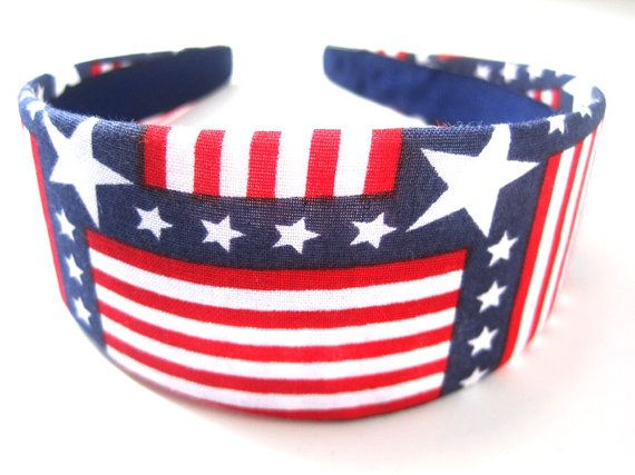 Patriot Flag Headband 2 Inch by CrawfordCornerShop on Etsy