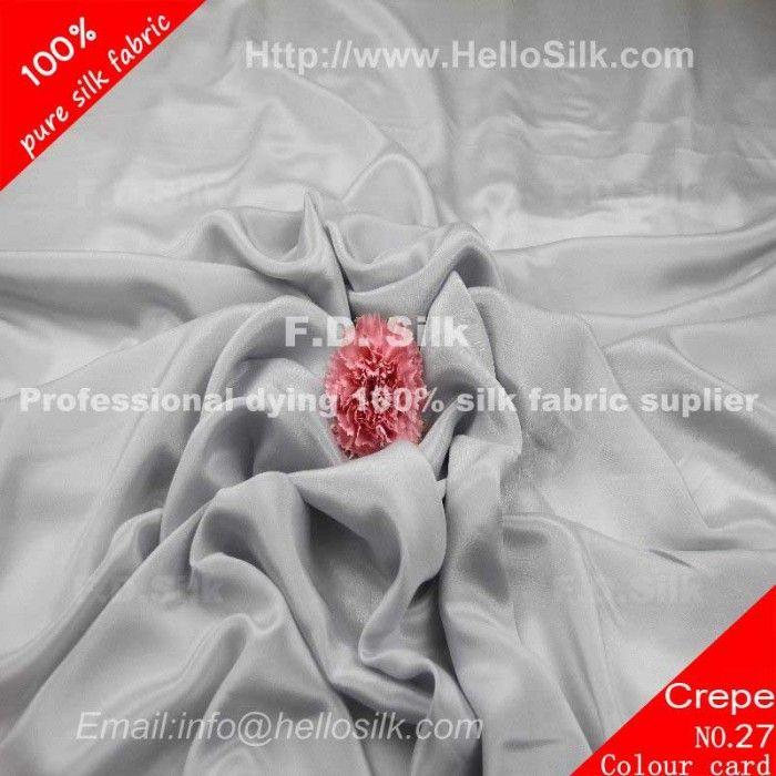 www.silkfabricwholesale.com/  F.D. silk most professional 14mm silk crepe de chine fabric- silver grey supplier.