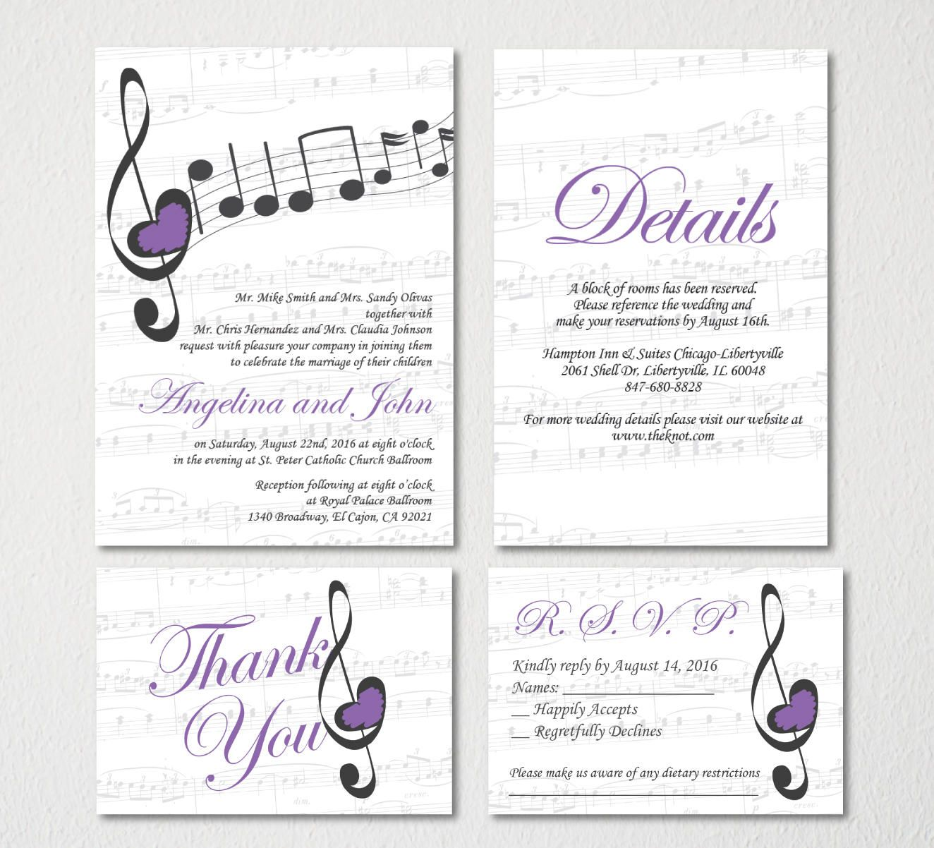 Music Wedding Invitation Printable Template/Vintage/E-card Wedding Invitation Template/Engagement Announcement/RSVP/Thank You Card/Spanish by ...