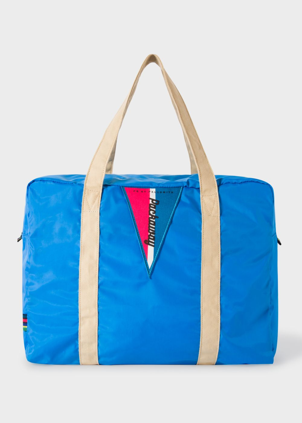 This Bright Blue Men S Gym Bag Has Two Stone Coloured Carry Handles And Features Vibrant Orange Contrasting Internal Binding