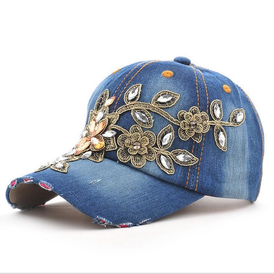 8c8e81440f1 Fashion Full Crystal Floral Sport Outdoor Denim Baseball Cap Bling  Rhinestone hip hop Adjustable Snapback Hat