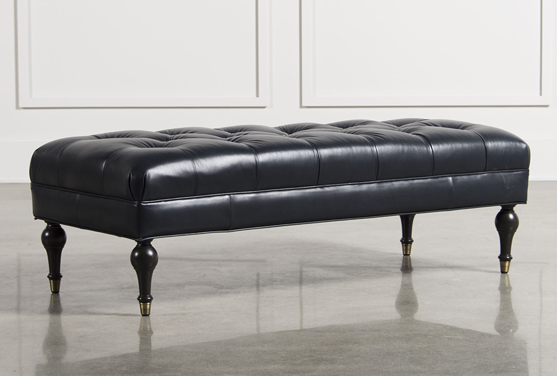 Abigail Navy Leather Cocktail Ottoman - Signature | Atlanta House ...