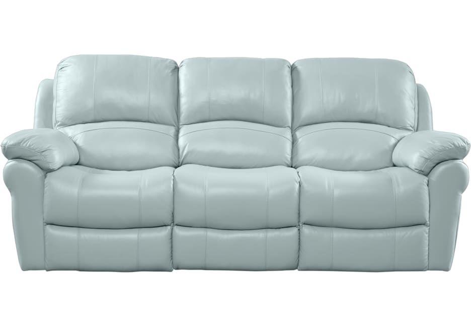 Vercelli Aqua Leather Power Reclining Sofa | Blue leather