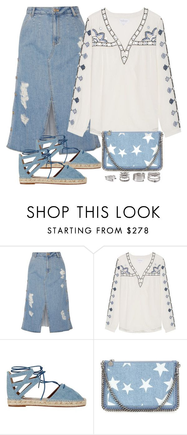 """""""Denim Trend"""" by junglover ❤ liked on Polyvore featuring Steve J & Yoni P, Velvet by Graham & Spencer, Aquazzura, STELLA McCARTNEY and Forever 21"""